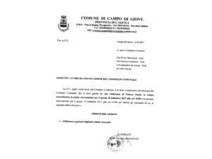 Convocazione del Consiglio comunale di Campo di Giove del 18 settembre 2017