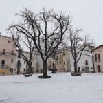 La piazza di Campo di Giove con la neve. 26 febbraio 2018