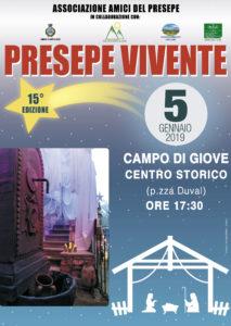 Il Presepe Vivente Itinerante di Campo di Giove (Aq), quindicesima edizione, sabato 5 gennaio 2019