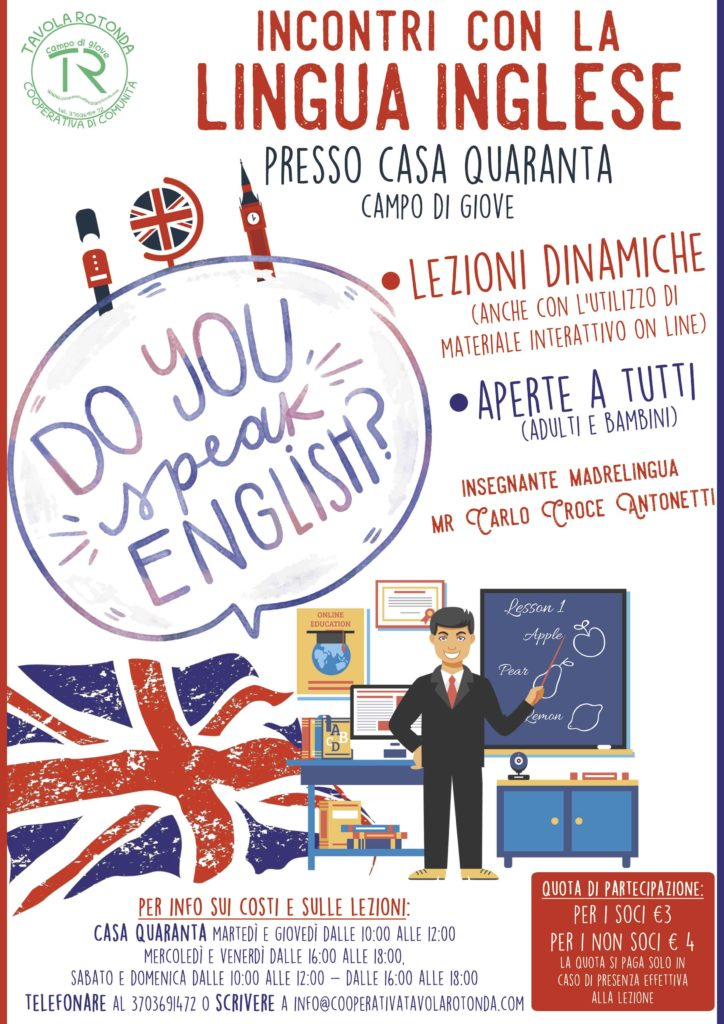 Corso di inglese rivolto a tutti presso Casa Quaranta, Campo di Giove (Aq)