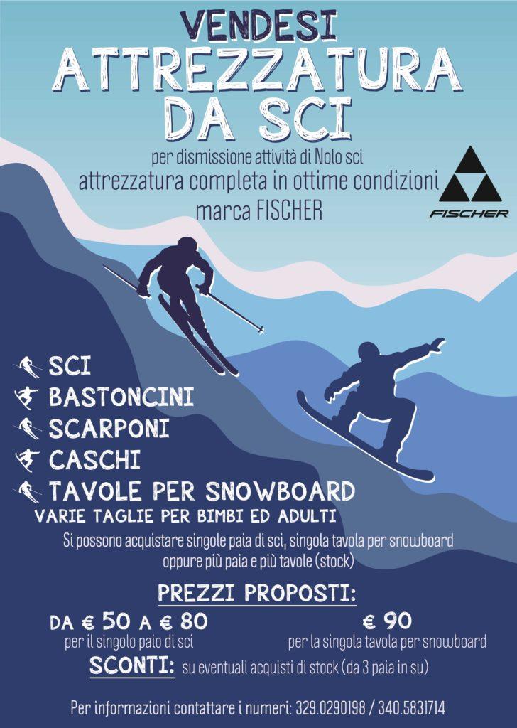 Campo di Giove: vendita attrezzatura per lo sci completa di sci, bastoncini, scarponi, caschi, tavole per snowboard