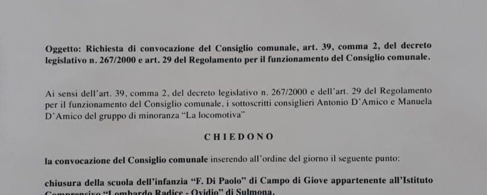 """I consiglieri della lista """"La locomotiva"""" chiedono la convocazione del consiglio comunale per discutere sulla chiusura della scuola"""