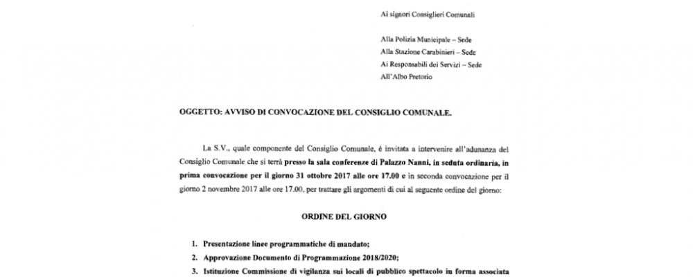 Consiglio comunale del 31 ottobre. Approvazione delle linee programmatiche di mandato