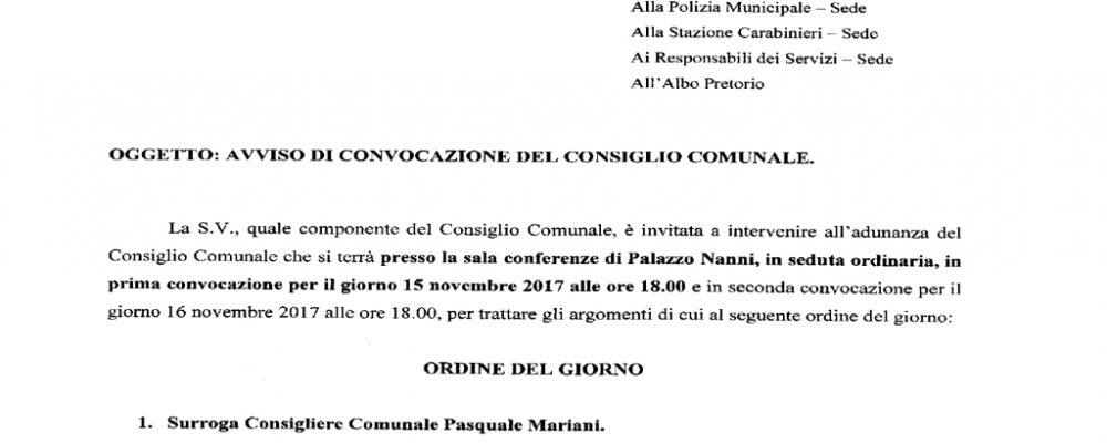Nuovo cambio in Consiglio comunale dopo le dimissioni del capogruppo Pasquale Mariani