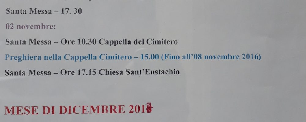 Parrocchia di Sant'Eustachio: giorni ed orari delle celebrazioni nei mesi di novembre e dicembre