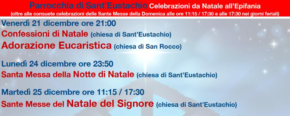 Parrocchia di Sant'Eustachio: orari delle Sante Messe di Natale, delle confessioni e dell'Adorazione Eucaristica