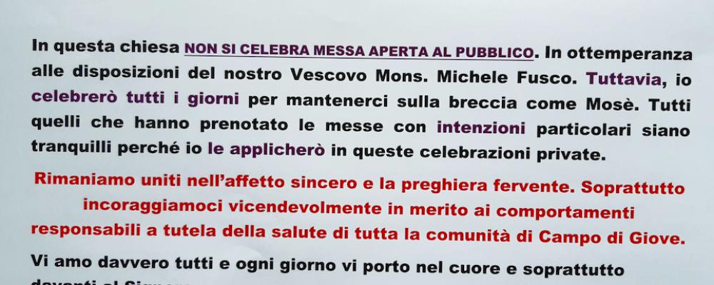 Avviso pubblicato dal Parroco di Campo di Giove sulla sospensione delle Sante Messe con presenza di fedeli