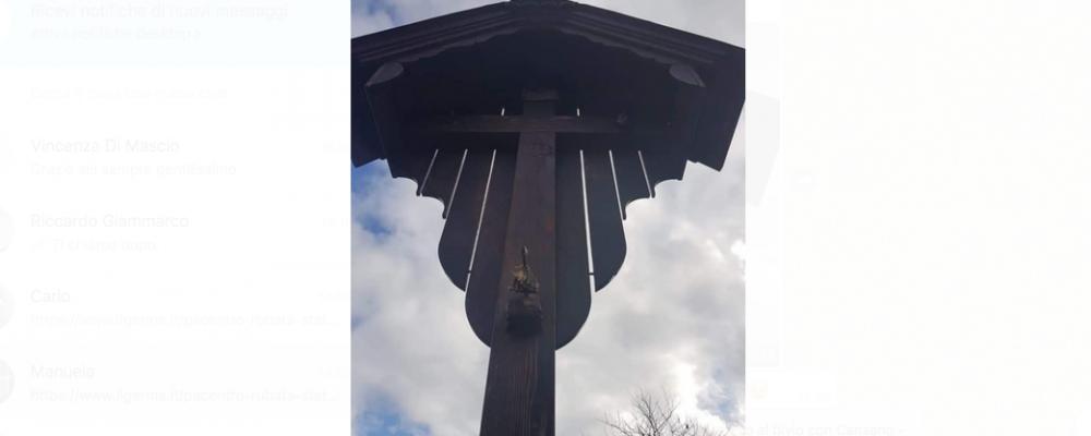 Rubata la statua del Cristo Crocifisso posta al bivio tra Pacentro, Cansano e Campo di Giove