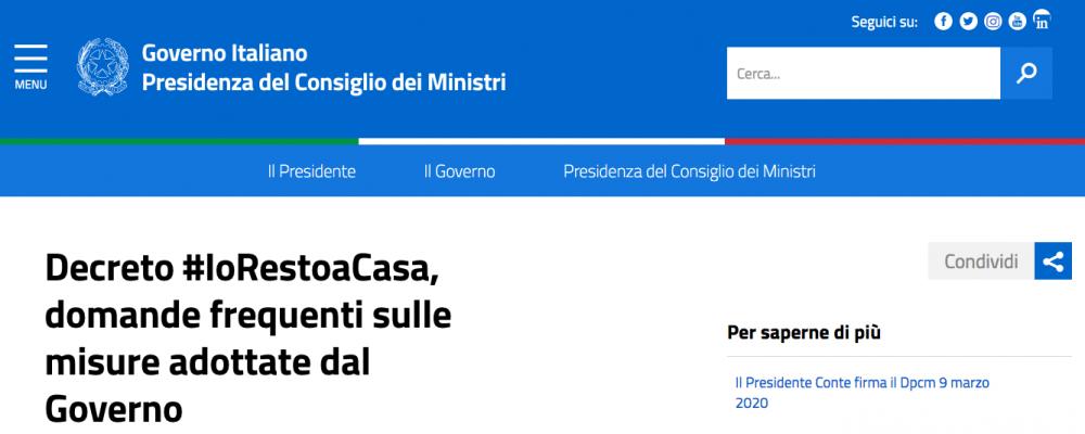 Coronavirus, aggiornamenti pubblicati sul sito della Presidenza del Consiglio dei Ministri