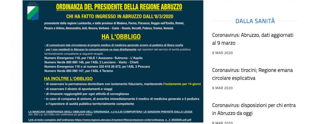 Coronavirus: aggiornamenti sulle misure adottate in Abruzzo